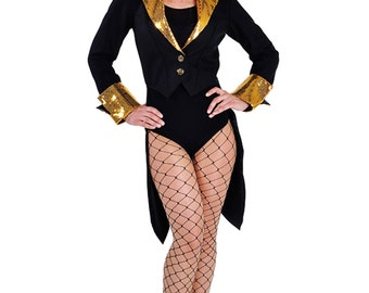 "Black / Gold Sequin ""Bling"" Cabaret Tailcoat"