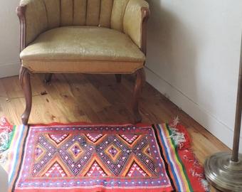 Funky Vintage Bohemian Groovy Hippie Guatemalan Rug