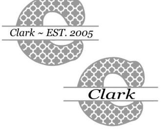 Split Letter Monogram, Split Letter Decal,  Wedding Gift, Monogram, House Warming Gift, Monogram Decal, Monogram Sticker, Wedding Gift