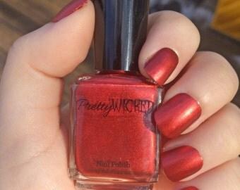 Metallic Red Nail Polish, Veronica Nail Polish, Dark Red Nail Polish, Blood Red Nail Polish, Metallic Nail Polish, Vampy Red Polish