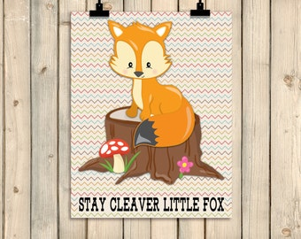 Fox Wall Art clever little fox | etsy
