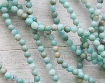 4mm A Grade Larimar Rounds Jewelry Supply Light Blue Gemstone
