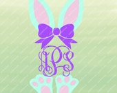Bunny Monogram SVG, Bunny Ears and Feet, Easter Monogram SVG