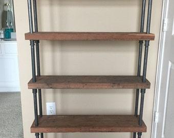 Custom Reclaimed Wood Shelving with Industrial Black Steel Pipe