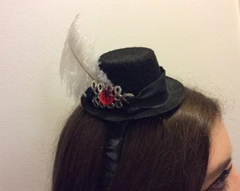 Ostrich Plume Mini Top Hat, Headband