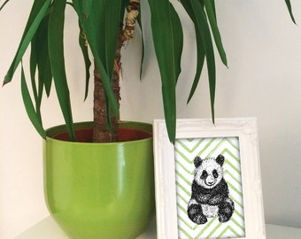Panda illustration print, panda wall art, panda nursery decor, blue green orange pink panda present, panda new baby gift UK