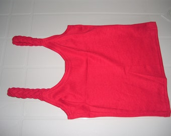 Red Color Woman Top with braided straps - Smal Size - S
