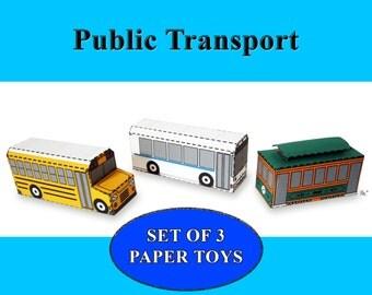 Public Transport Paper Toy Vehicle Models Set of 3