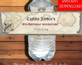 Pirate Water Bottle Label Instant Download Editable PDF