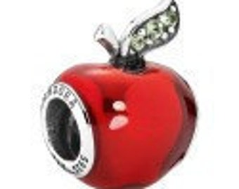 Pandora Snow White's  Apple  Red Enamel and Sterling  Silver Charm Bead # 791572EN73 Comes in Pandora Pouch