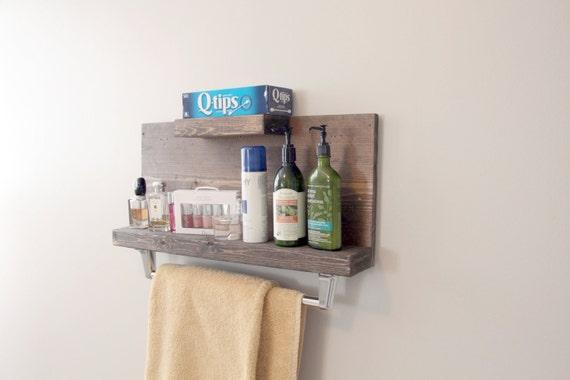 Modern Rustic 2 Tier Bathroom Shelf with Towel Bar  Floating Shelf  Towel Rack. Modern Rustic 2 Tier Bathroom Shelf with Towel Bar by GBandWood