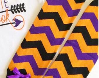 Leg Warmers - Orange, Purple and Black Chevron
