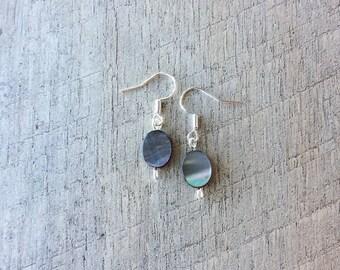 Mother of Pearl (Gray) Dangle Earrings, Shell Earrings, Pearl Earrings, Rustic Modern Jewelry, Free Shipping U.S.