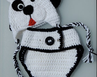 Crochet Puppy Dog Hat and Diaper Cover, Crochet Puppy Dog Earflap Hat and Diaper Cover, Photo Prop