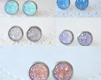Aqua blue druzy ear posts,Peach druzy,Blue Druzy,Clear Druzy,Light Pink Druzy,Lavender Druzy,,Hypoallergenic ear posts ear studs earrings