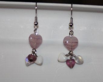 Purple & White Glass Heart Earrings