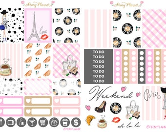 Walk in Paris Weekly Planner Sticker Kit for use with ERIN CONDREN LIFEPLANNER™, Happy Planner, Travelers Notebook etc