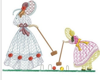 """Southern belle playing croquet machine embroidery download 3 different sizes(8X7""""  8X6"""" 6X5"""" hoop)"""