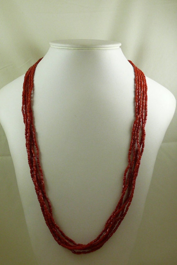 Italian Coral Five Strand Necklace 14k Yellow Gold Clasp
