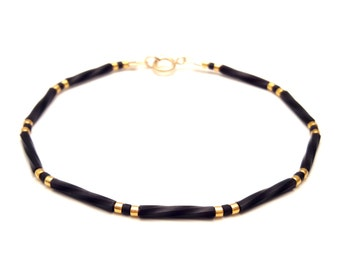 Black and gold Simple bracelet gold minimal jewelry tiny bead layering bracelet