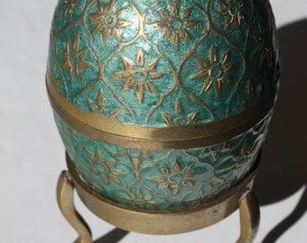 Brass egg shaped jewelry box, jewelry storage