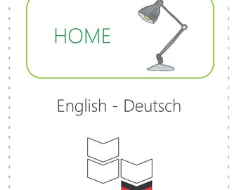 PRINTABLE Vocabulary Cards - Home (Bilingual: English to German)