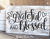 Hand Lettered Grateful and Blessed SVG Cut File
