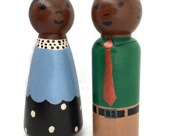 Wooden Peg Doll Couple - Peg Doll Man and Woman - African American Peg Dolls - Peg Doll Parents