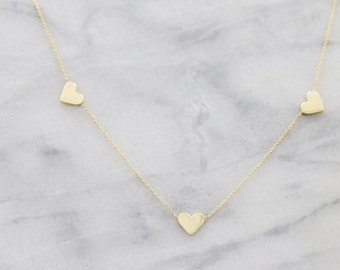Three Heart Necklace, Rose Gold Heart Necklace, Rose Gold Necklace, Dainty Heart Jewelry, Tiny Heart Necklace, Rose Gold Heart Jewelry