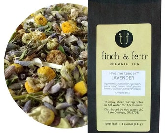 Organic LAVENDER Tea | Herbal, Caffeine-free | Loose Leaf | Small (1.5 oz)