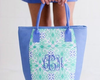 Monogram Lunch Box ~ Monogram Lunch Tote ~ Insulated Tote ~ Insulated Lunch Box ~ Preppy Paisey Lunch tote ~ Monogram Lunch Bag
