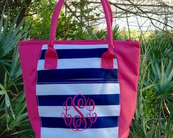 Monogram Lunch Box ~ Monogram Lunch Tote ~ Insulated Tote ~ Insulated Lunch Box ~ Preppy Stripe Lunch tote ~ Monogram Lunch Bag