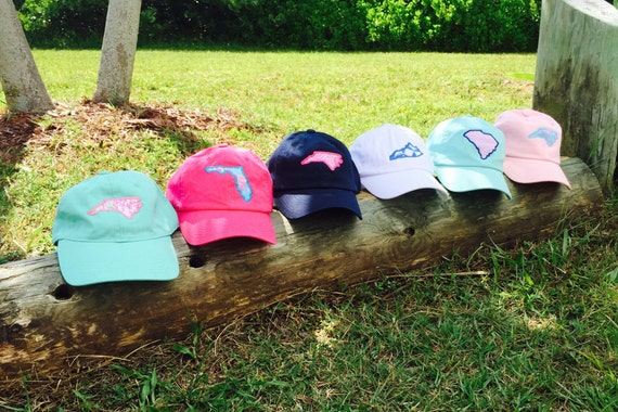 State monogram ball cap  ~ little bit of lilly state hat ~ Monogram Hat ~ Bridesmaid Gift ~ Golf ~ Chambray hat ~ Monogram Baseball Hat