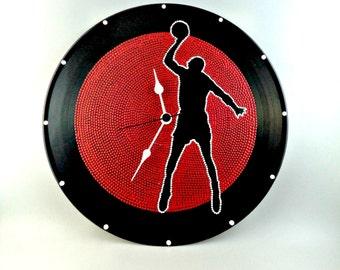 Michael Jordan, Wall clock, Vinyl Clock, Upcycled, Red, White, Vinyl Record Wall Décor, InsaneDotting