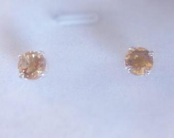 Round, Brilliant Citrine Gemstone Stud Earrings, Sterling Silver