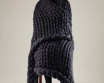 18 micron Merino wool blanket, Chunky knit blanket, Throw blanket, Chunky blanket, Express shipping