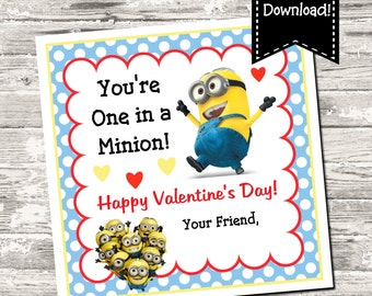 Instant Download Minions Valentine Square Tag Gift Tag Digital Printable
