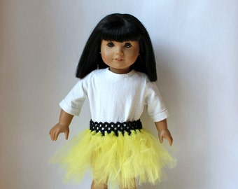 Black and yellow tutu for 18 inch dolls.