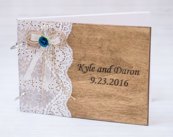 Wedding Guest Book Navy Blue Rustic Wedding Guestbook Personalized Wooden Guest Book Pen Lace