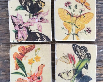 Vintage Butterfly Stone Tile Coasters