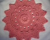 "Rose Colored Textured Doily, Vintage Style Pineapple Motif Design  - 14"" Round"