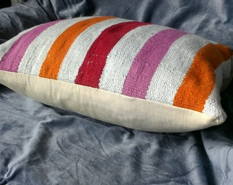 Colorful tunisian striped pillow rug