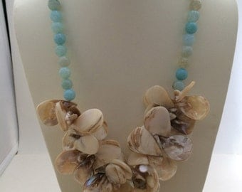Blue Agate MOP Shell Necklace