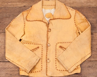 Womens Vintage 1960s North Beach Lined Leather Jacket Brown Size 8-10 R2971