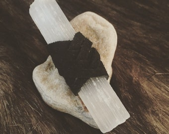 Selenite Wand (Raw) Wrapped in Black Suede, Meditation, Energy Healing, Chakras, Spiritual, Ceremonial, Moon