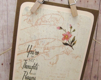 Thoughts and Prayers Greeting Card-Floral Sympathy Card-Thinking of You-Friendship Card-Handmade Sympathy Card-Thoughts and Prayer Note Card