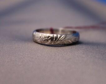 Flower Pattern Silver Ring