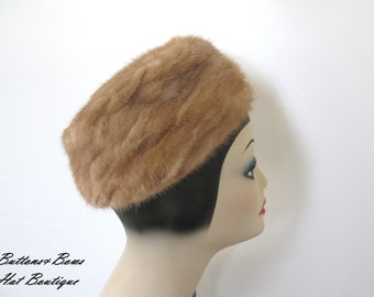Clearance~ Vintage Hazel Mink Pillbox Hat~ Cecile New York Circa 1960's