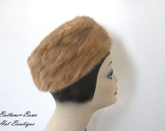 Sale!~ Vintage Hazel Mink Pillbox Hat~ Cecile New York Circa 1960's
