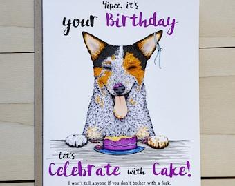 australian cattle dog birthday card blue heeler red heeler handmade ...